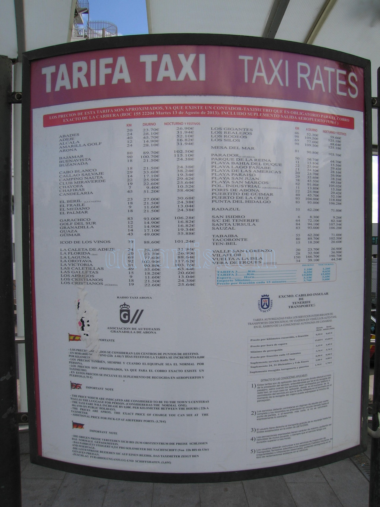 Tenerife south airport taxi rates